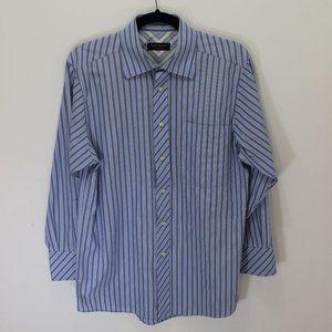 Ted Baker Blue & White Vertical Stripe Dress Shirt
